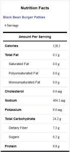 Black Bean Burger Patties- Nutrition Facts