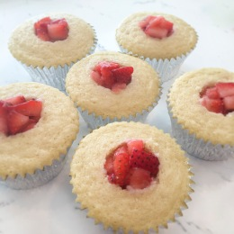 Strawberry Filled Almond Cupcakes with Chantilly CRÈME- Eggless and Under 300 Cal- HeDoesXrayIDoFood.com