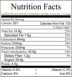 Nutrition Facts- gold lettering