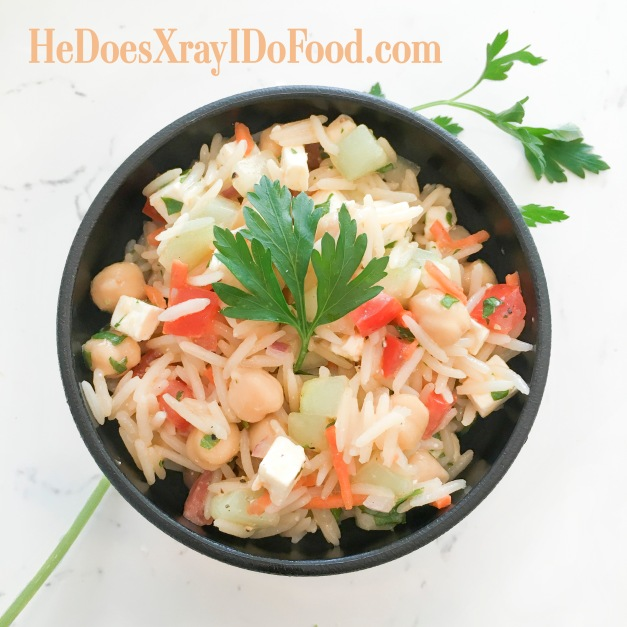 Light Tabouli Style Rice Pilaf; a fresh, simple side dish- HeDoesXrayIDoFood