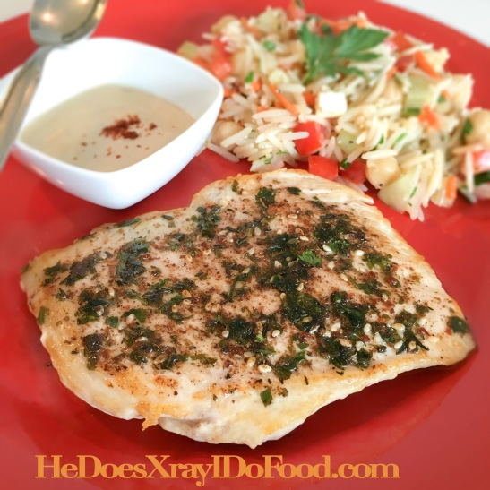 Easy Za'atar Chicken with Tahini Sauce, Experience Middle Eastern Flavor, 37g protein- HeDoesXrayIDoFood.com