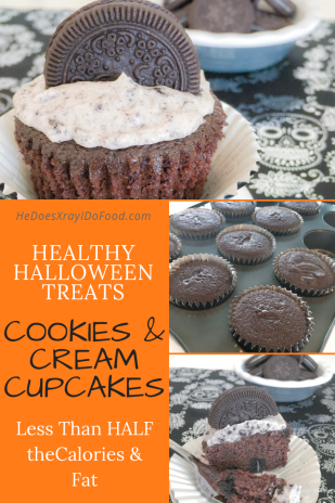 "Cookies & Cream Cupcakes; less than HALF the calories (and fat) than the usual ""Oreo"" cupcakes- HeDoesXrayiDoFood.com"
