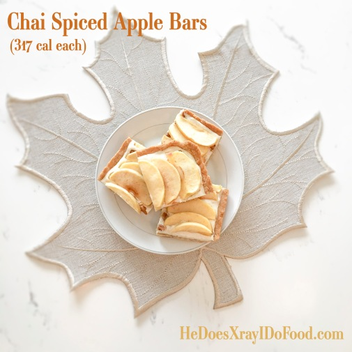 Chai Spiced Apple Bars, no-roll crust and under 320 Cal! Easy Weekday Baking