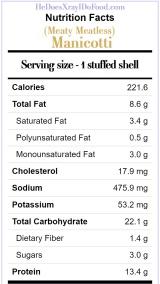 Meaty (Vegetarian) Manicotti, 220 cal +13g each- HeDoesXrayIDoFood.com