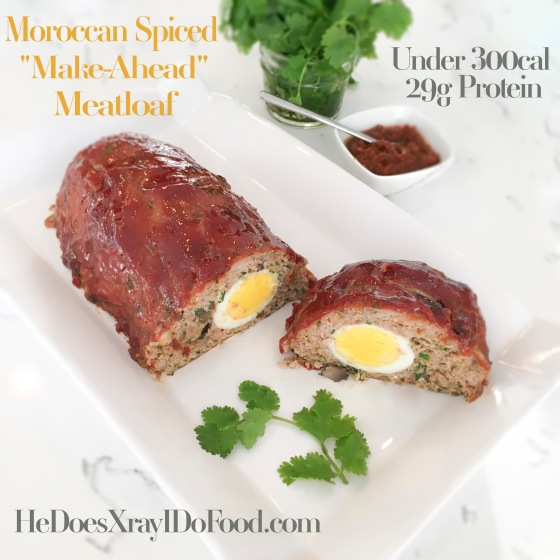 "MOROCCAN SPICED ""MAKE-AHEAD"" MEATLOAF; UNDER 300CAL WITH ALMOST 30G PROTEIN"
