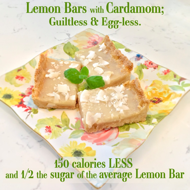 Lemon Bars with Cardamom; Guiltless & Eggless. 150 calories less and 1/2 the sugar of the average bar-HeDoesXrayIDoFood.com