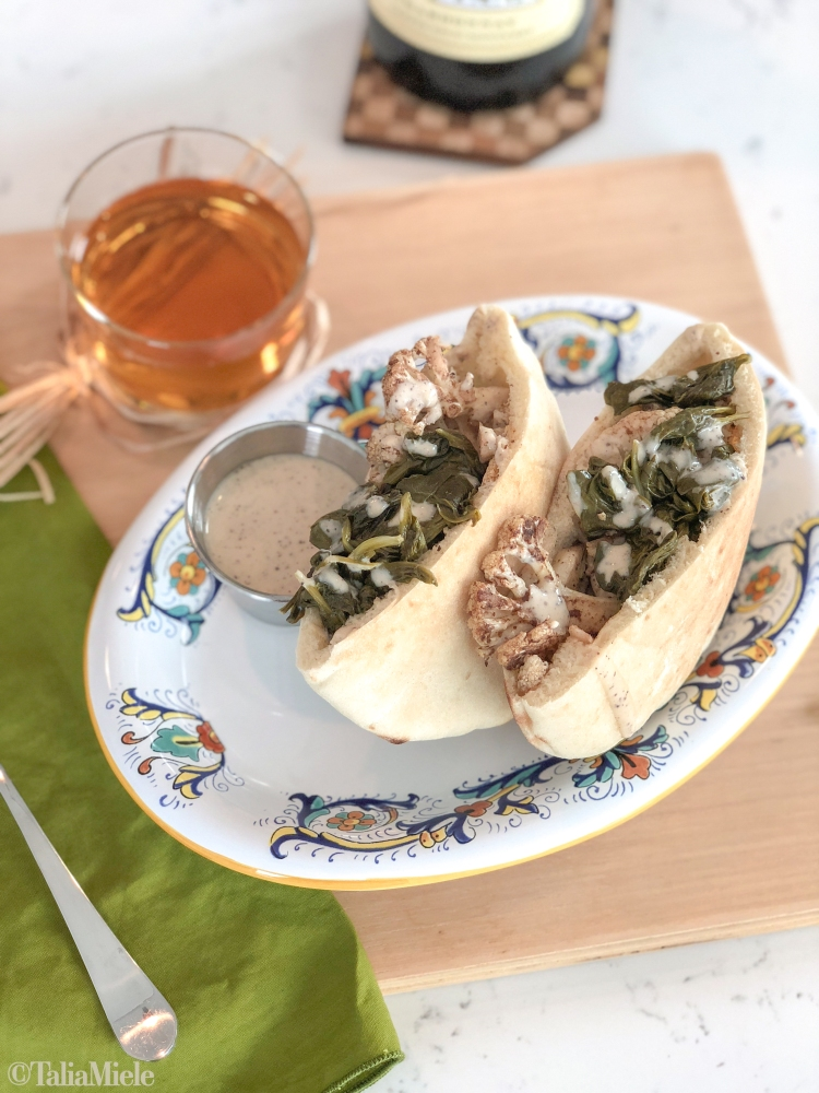 (VEGAN & Make Ahead) Cauliflower Shawarma Pitas with Tahini Sauce-HeDoesXrayIDoFood.com