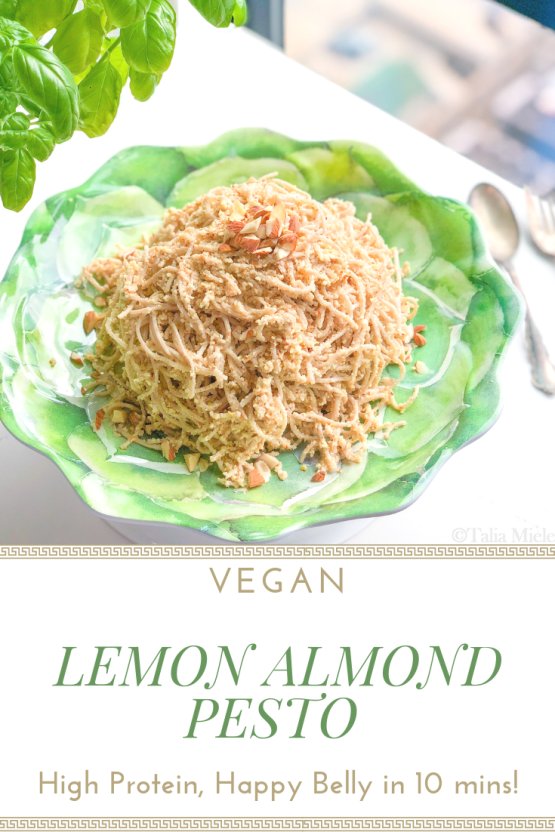 (Vegan) Lemon Almond Pesto over Buckwheat Soba Noodles; High Protein, Happy Belly