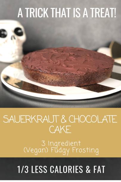 Sauerkraut & Chocolate Cake, (Vegan) Fudgy Ganache Frosting-HeDoesXrayIDoFood